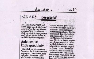 LESERBRIEF – ANLEINEN IST KONTRA-PRODUKTIV